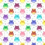 Emociones de búhos coloridos con las estrellas stock de ilustración