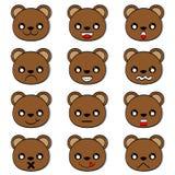 Emociones de la cara del vector del oso ilustración del vector