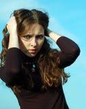 Emociones de la chica joven Foto de archivo libre de regalías