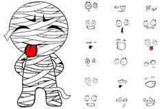 Emociones de la historieta de la momia fijadas ilustración del vector