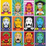 Emociones de la mujer - coloreadas ilustración del vector