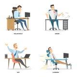 Emociones de la oficina fijadas stock de ilustración