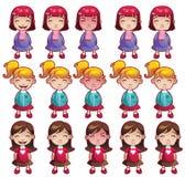 Emociones de las muchachas fijadas ilustración del vector