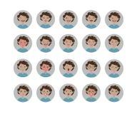 Emociones de los avatares Conjunto de expresiones faciales Iconos del emoji del estilo de la historieta ilustración del vector