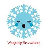 Emociones de los copos de nieve de la bandera Historieta linda ilustración del vector