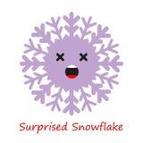 Emociones de los copos de nieve de la bandera Historieta linda stock de ilustración
