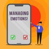 Emociones de manejo del texto de la escritura de la palabra El concepto del negocio para la capacidad esté abierto a las sensacio libre illustration