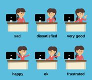 Emociones de trabajo de la empresaria fijadas Fotografía de archivo libre de regalías