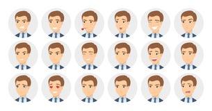 9 emociones del hombre fijadas stock de ilustración