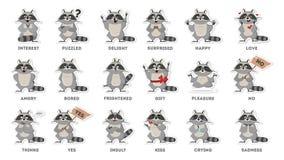 Emociones del mapache fijadas stock de ilustración