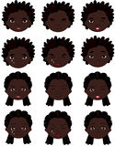 Emociones del muchacho y de la muchacha del Afro: alegría, sorpresa, miedo, tristeza, dolor Fotos de archivo libres de regalías