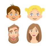 Emociones del rostro humano - sistema ilustración del vector
