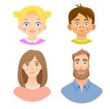 Emociones del rostro humano - sistema stock de ilustración