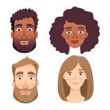 Emociones del sistema del rostro humano ilustración del vector