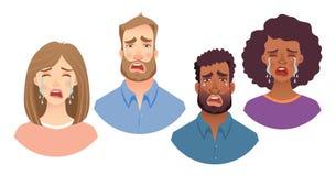 Emociones del sistema del rostro humano stock de ilustración