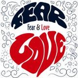 Emociones dibujadas mano que ponen letras a miedo y a amor libre illustration
