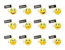 Emociones divertidas de las sonrisas con las placas ilustración del vector