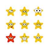 Emociones divertidas sistema, iconos del carácter de la estrella de la historieta ilustración del vector