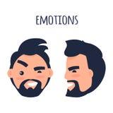 emociones Haga frente de diverso ejemplo de los ángulos ilustración del vector