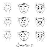 emociones Historieta de la fantasía, monstruos s del vector del dibujo de la mano del garabato Imagenes de archivo
