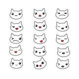 Emociones lindas del gato fijadas stock de ilustración