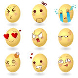 Emociones Set1 del vector de los huevos stock de ilustración