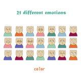 Emocj barwione ikony Kreskowe ikony Zdjęcie Stock