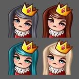 Emocj ikon królowej kobieta z długimi hairs dla ogólnospołecznych sieci i majcherów Obrazy Stock