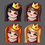 Emocj ikon królowej kobieta z długimi hairs dla ogólnospołecznych sieci i majcherów Obraz Stock