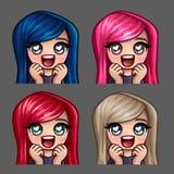 Emocj ikon szczęśliwa żeńska miłość z długimi hairs dla ogólnospołecznych sieci i majcherów Zdjęcia Stock