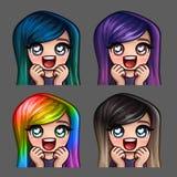 Emocj ikon szczęśliwa żeńska miłość z długimi hairs dla ogólnospołecznych sieci i majcherów Obrazy Royalty Free