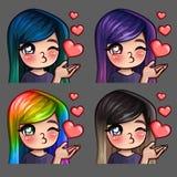 Emocj ikon szczęśliwa kobieta całuje z długimi hairs dla ogólnospołecznych sieci i majcherów Fotografia Stock