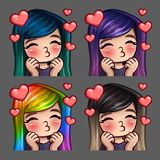 Emocj ikon szczęśliwa kobieta całuje z długimi hairs dla ogólnospołecznych sieci i majcherów Zdjęcie Stock