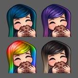 Emocj ikon szczęśliwa kobieta je ciastko z długimi hairs dla ogólnospołecznych sieci i majcherów Obrazy Royalty Free