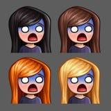 Emocj ikony okaleczali kobiety z długimi hairs dla ogólnospołecznych sieci i majcherów Zdjęcia Stock