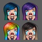 Emocj ikony płacze kobiety z długimi hairs dla ogólnospołecznych sieci i majcherów Fotografia Royalty Free