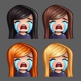 Emocj ikony płacze kobiety z długimi hairs dla ogólnospołecznych sieci i majcherów Zdjęcia Royalty Free