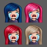 Emocj ikony płacze kobiety z długimi hairs dla ogólnospołecznych sieci i majcherów Zdjęcie Stock