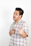 Emocja Azjatycki gruby mężczyzna Zdjęcie Royalty Free