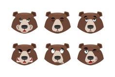 Emocja niedźwiedź Ustawia wyrażenia avatar grizzly Zwierzęcy dobry i e ilustracji