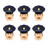 Emocja policjanta ikona Ustawia wyrażenia avatar policjanta Dobry i ev Fotografia Stock