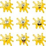 Emocja uśmiechów kreskówki kleksa żółty kolor ustawia 006 ilustracji