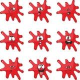 Emocja uśmiechów kreskówki kleksa czerwony kolor ustawia 004 ilustracji