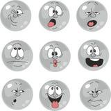 Emocja uśmiechów szarość kolor ustawia 012 ilustracja wektor