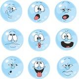 Emocja uśmiecha się błękitnego kolor ustawia 004 ilustracja wektor