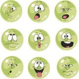 Emocja uśmiecha się zielonego kolor ustawia 009 royalty ilustracja