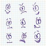 Emocja, wektorowy ustawiający dziewięć twarz royalty ilustracja