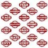 emocja znaczki negatywni gumowi ustaleni ilustracja wektor