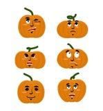 Emocje dyniowe Ustawia wyrażenia avatar dla Halloween Dobry i ilustracja wektor