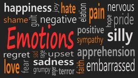Emocji słowa chmury kolaż, ogólnospołeczny pojęcia tło obraz stock